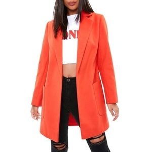 NWT Missguided Slim Fit open Front Orange Coat